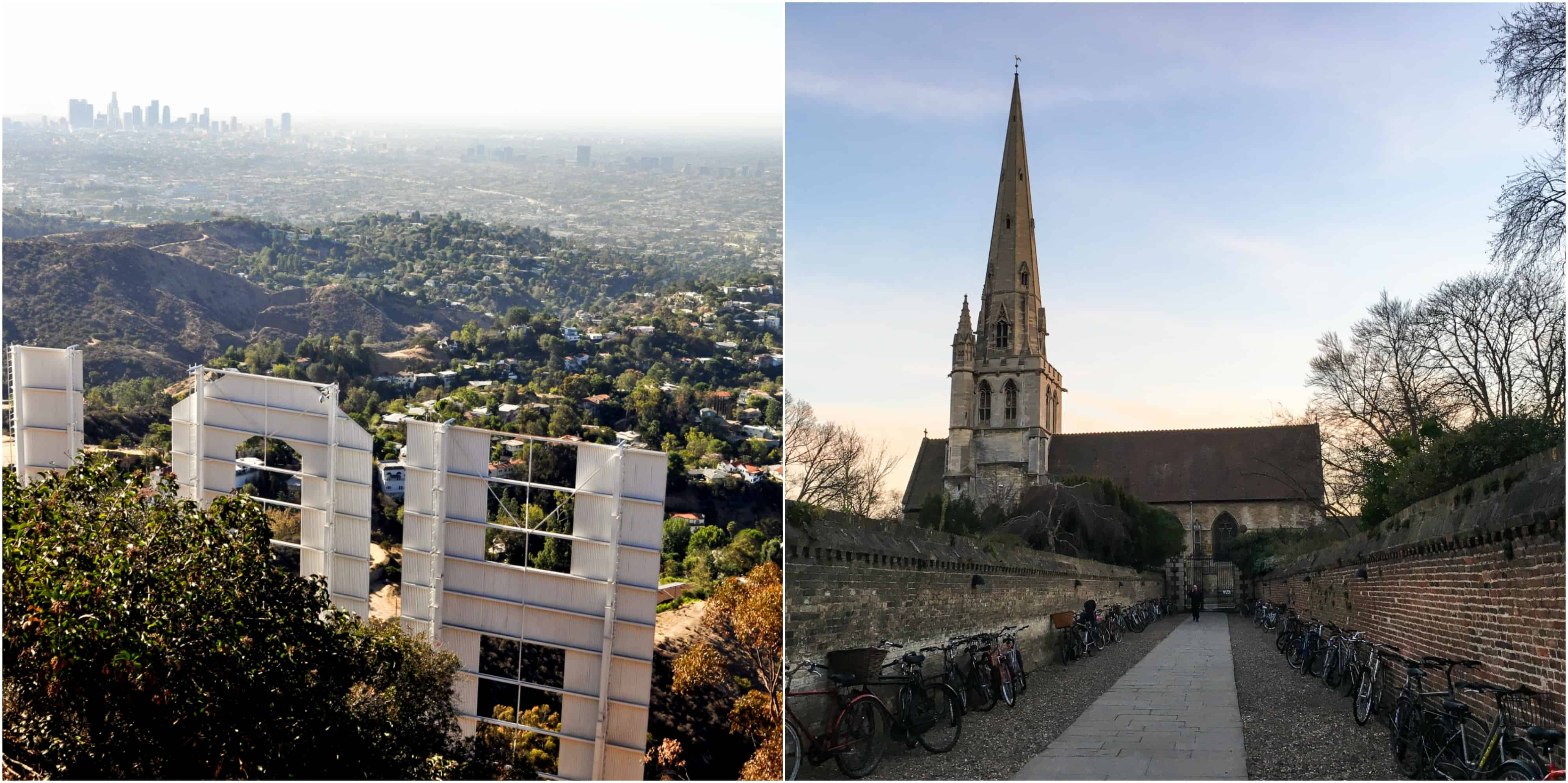 Hollywood sign and church steeple