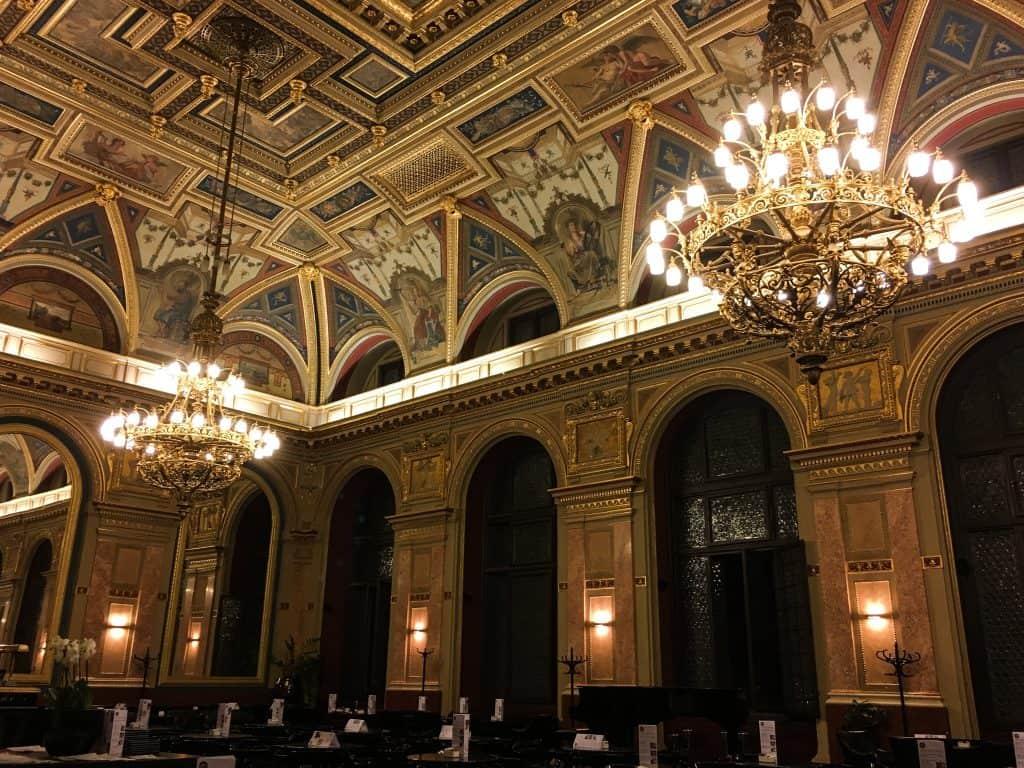Alexandra Bookcafe and Lotz Hall on Andrassy Avenue   Budapest Hungary