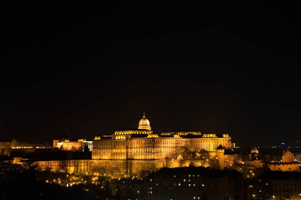 Buda Castle at night Budapest Hungary