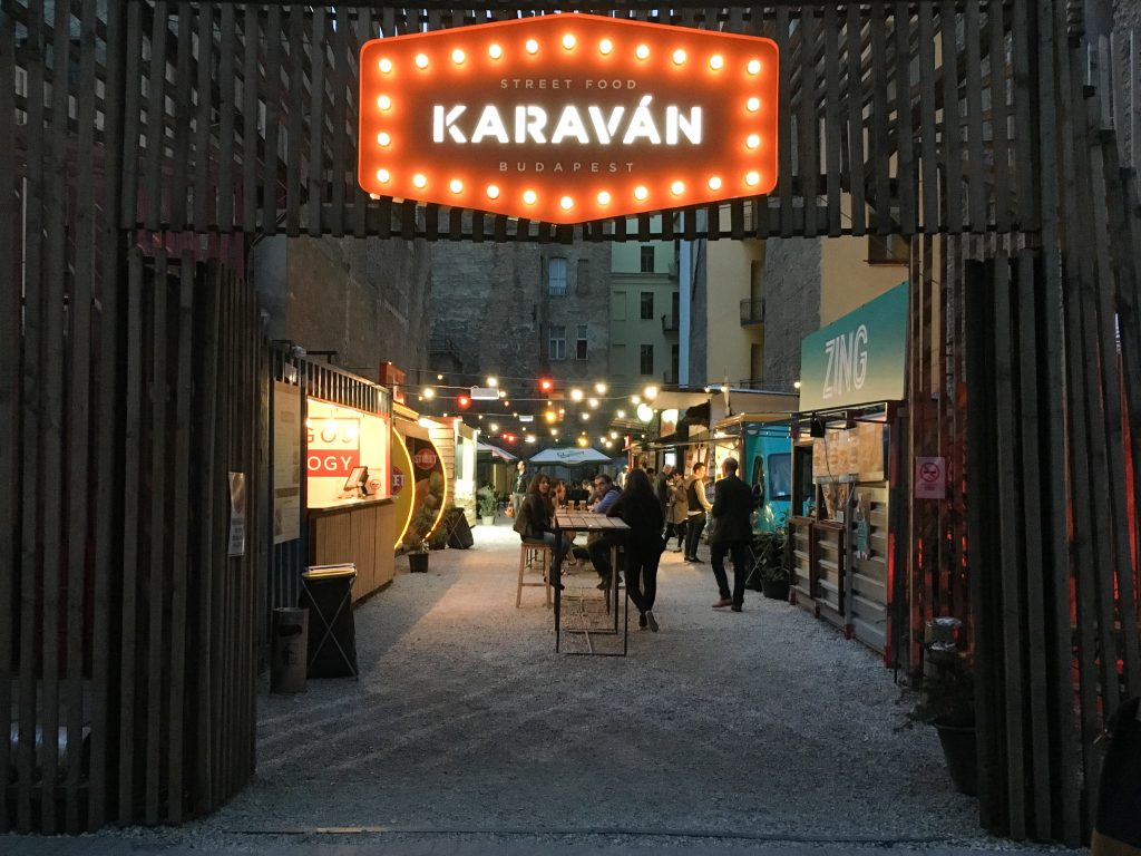 Karavan street food park Jewish District Budapest Hungary