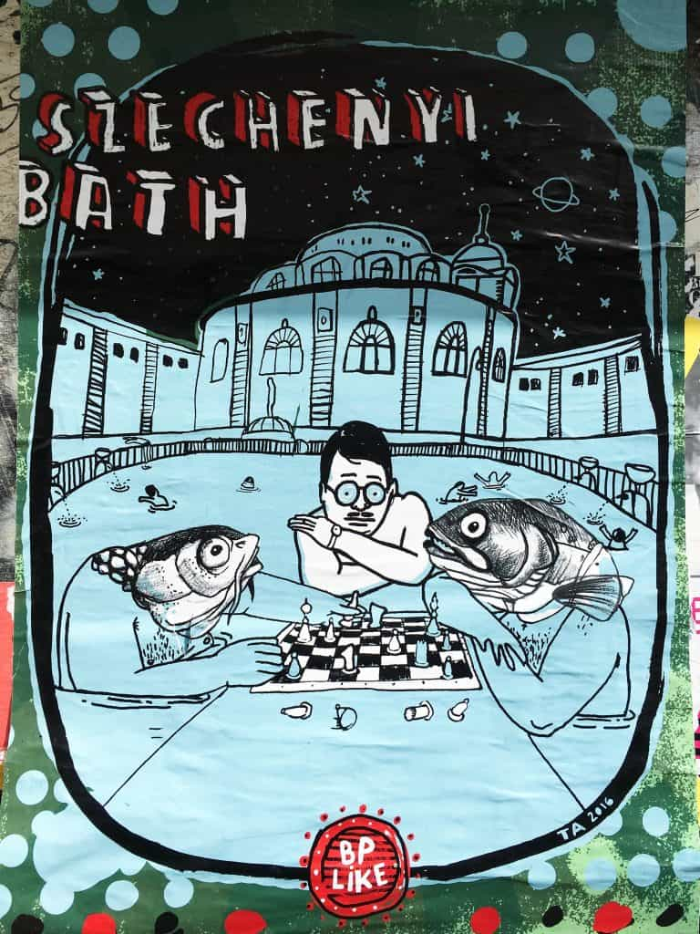 Szechenyi Baths poster in Budapest, Hungary | Street Art Tours: the best way to discover the living city