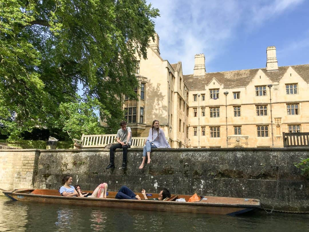 Punting the Backs on the River Cam in Cambridge, England