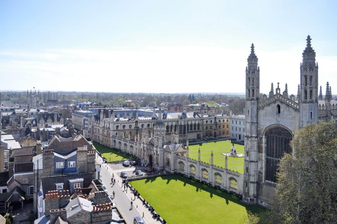 View of Cambridge, England from Great St. Mary's Church