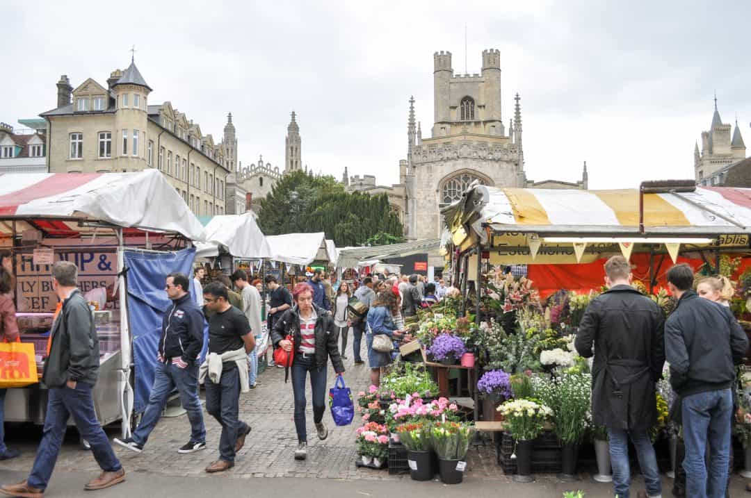 Market Square in Cambridge, England