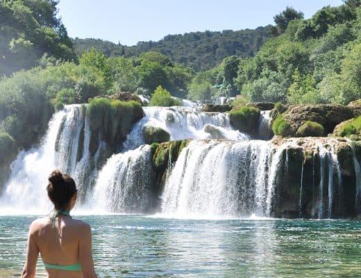 Swimming in Krka National Park   Skradinski Buk Waterfalls Croatia