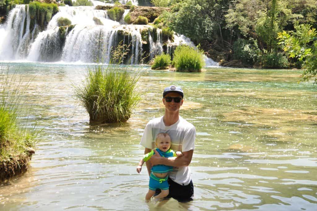 Swimming in Krka National Park, Croatia   Skradinski Buk Waterfalls