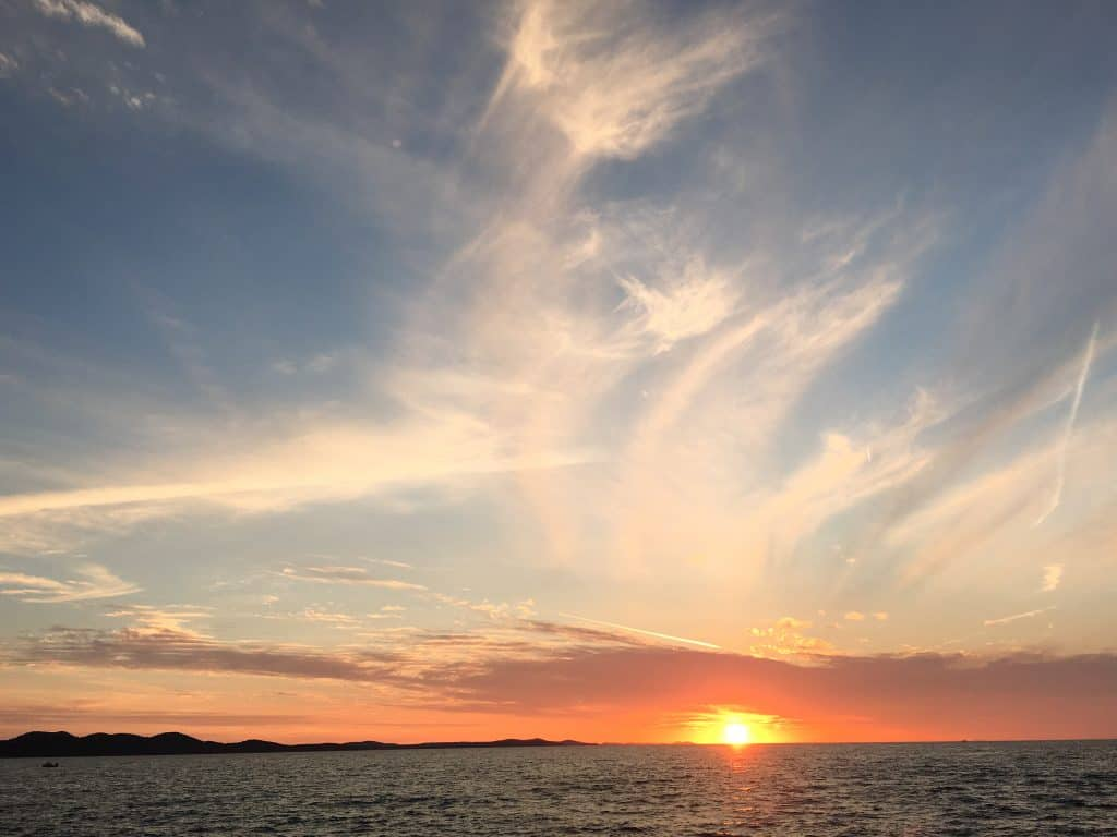 Sunsets in Zadar, Croatia across the Adriatic Sea