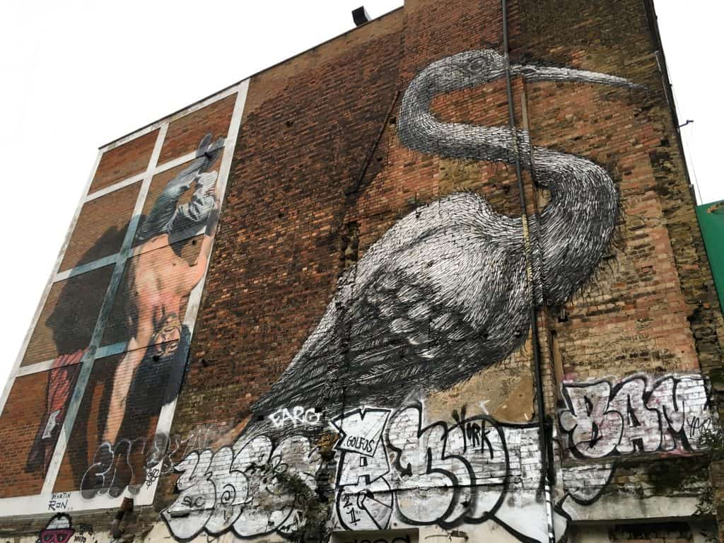 Street art crane mural by Roa in Brick Lane, London's East End | Street Art Tours: the best way to discover the living city