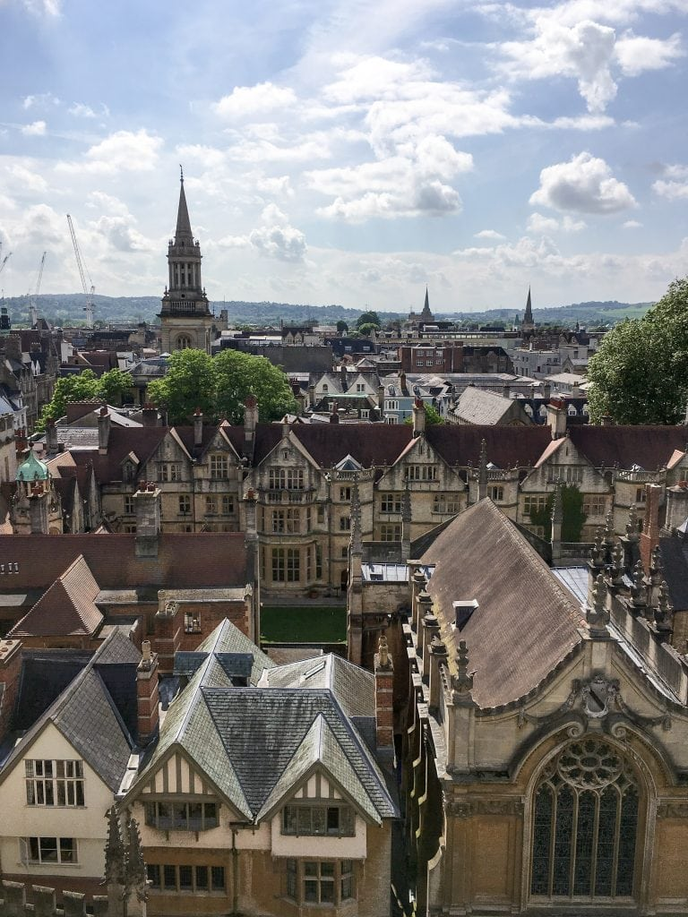 View from Church of Saint Mary's in Oxford, England | Oxford vs Cambridge: The best English University town