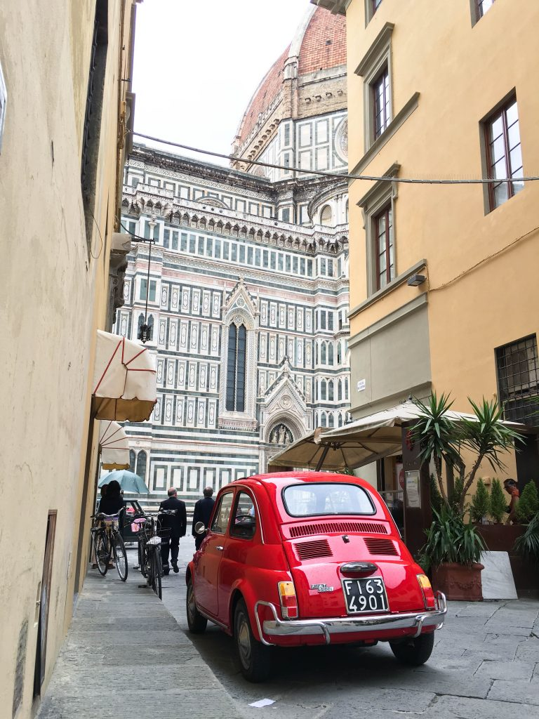 Mini Cooper spotting in Florence, Italy | We were only in Florence for a day, so we focused on the must sees. We stuck to the Ds (the David and the Duomo), the Gs (Giotto's bell tower and gelato) and the Ps (Michelangelo Piazza and pizza).