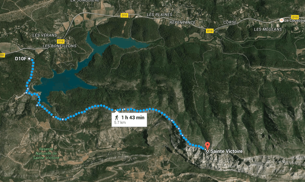 Trekking in Provence, France: Sainte-Victoire Mountain near Aix-en-Provence Map of Blue Trail