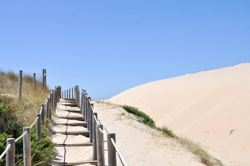 Sand dunes at Praia do Guincho near Cascais, Portugal | The perfect beach trip from Lisbon