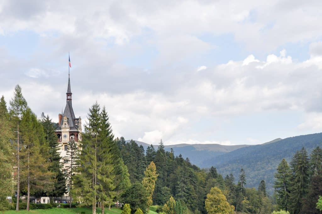 Peles Castle, perfectly nestled in the Carpathian Mountains