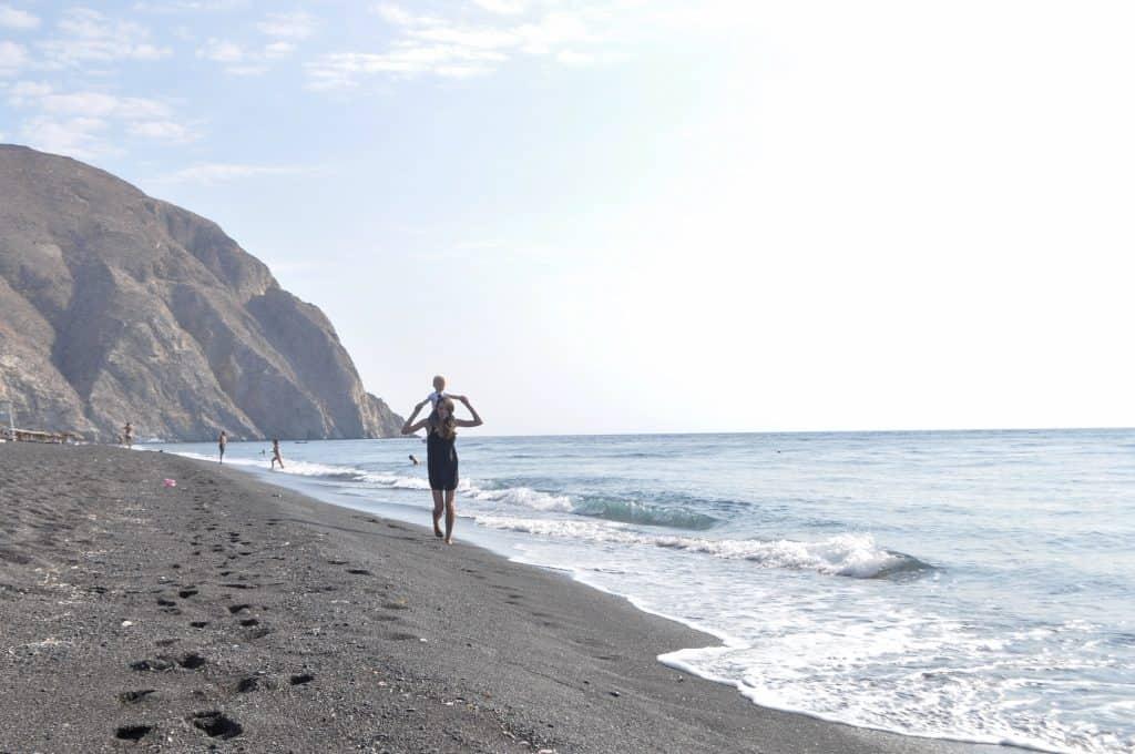 Black Sand Beach in Perissa, Greece, Santorini