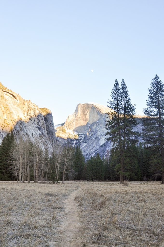 Winter Hiking in Yosemite | View of Half Dome from the Valley