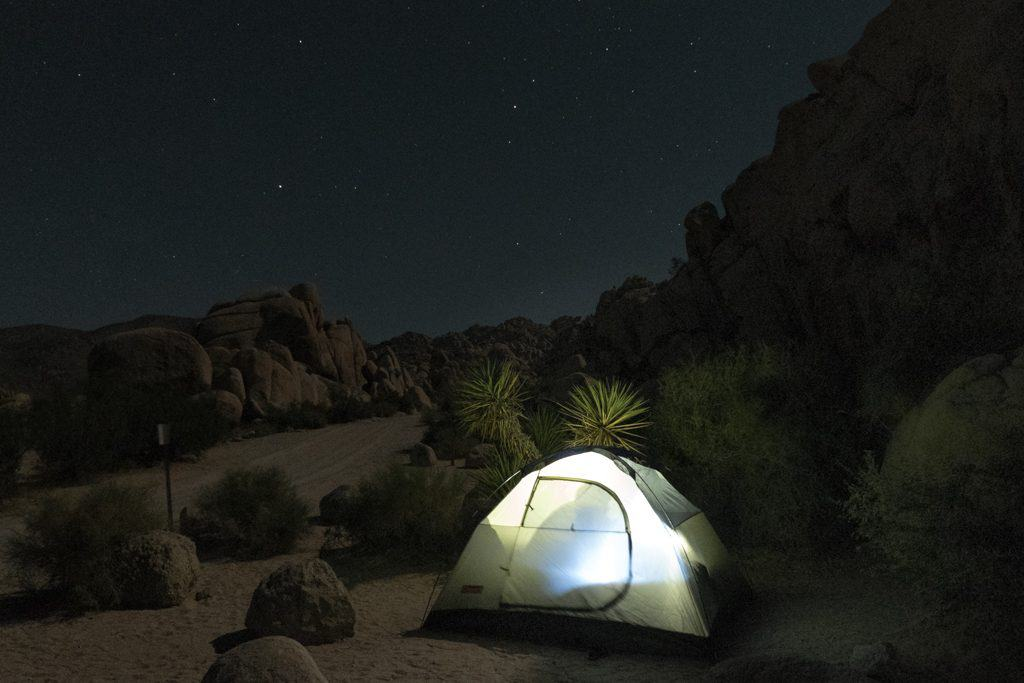 Tent at night in Joshua Tree National Park
