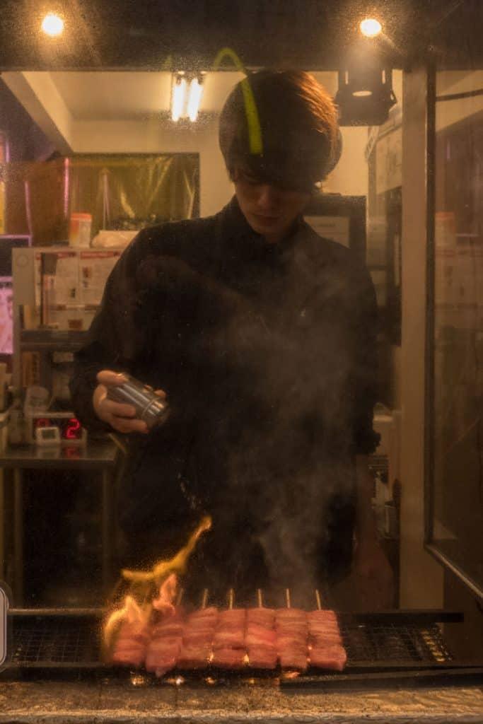 The Best Japanese Street Food in Tokyo's Shibuya Neighborhood | A Tokyo Food Tour with Arigato Food Tours | Snacking on Kobe Beef Skewers