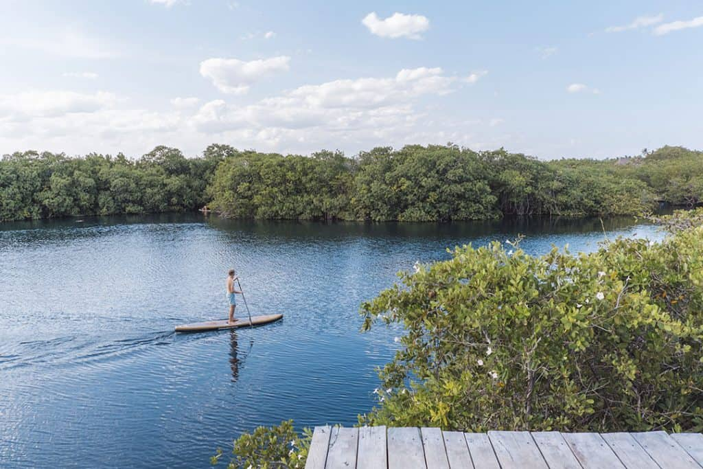 Stand up Paddle boarding at Nativus Glamping Tulum Mexico