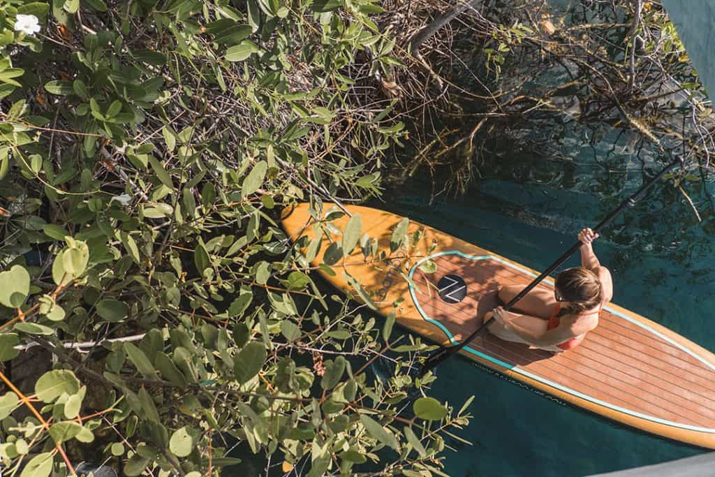 Stand Up Paddle boarding in Nativus Glamping Tulum Cenote