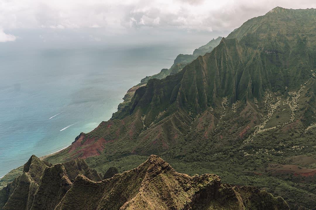 View of Na Pali Coast and Kalalau Valley
