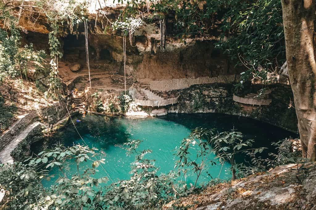 Cenote Zaci in the middle of Valladolid, Mexico