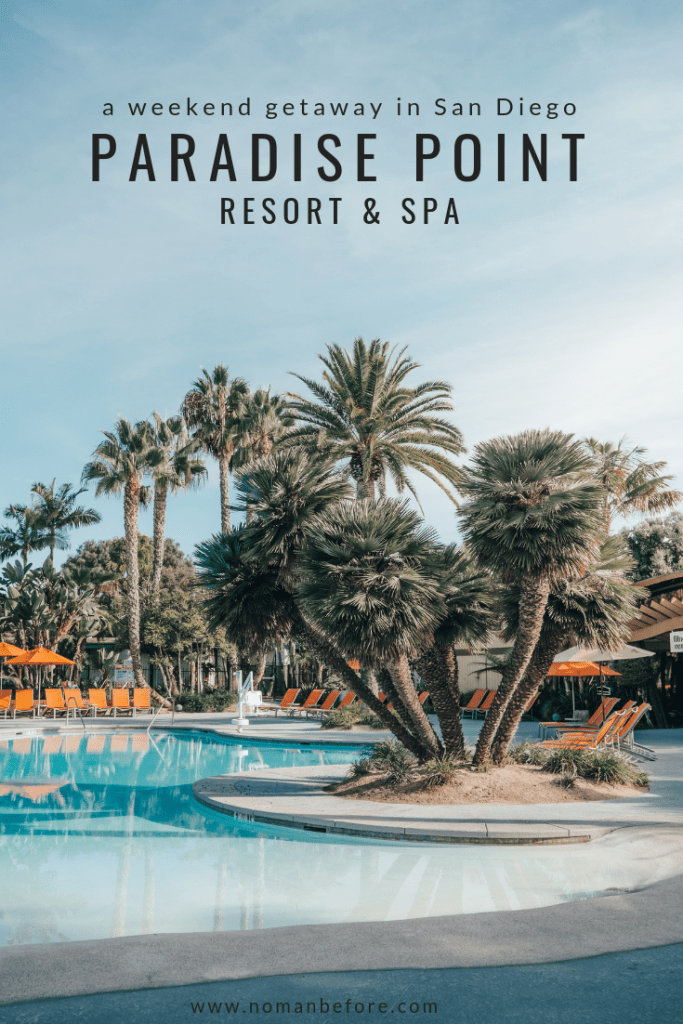 Spend a relaxing weekend at the Paradise Point Resort & Spa in San Diego, California | Paradise Point is a luxury resort with waterfront bungalows on a lush green island in Mission Bay. Swim in one of five pools, stroll along the sand and have a bonfire on the beach at night. #sandiego #california #familytravel #hotel #resort