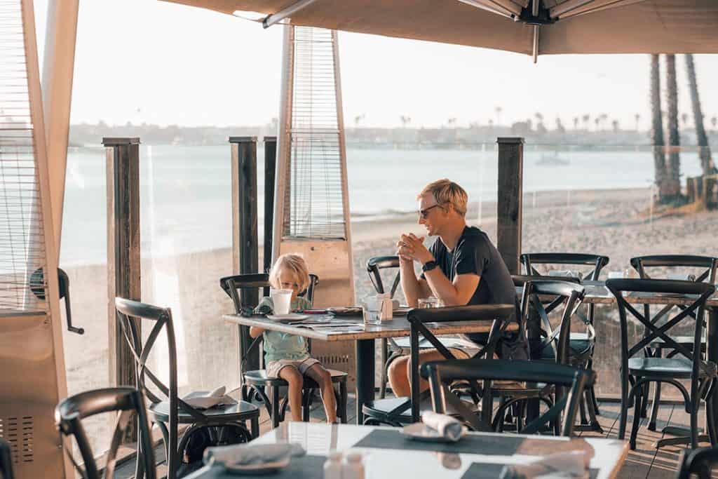Eating at Tidal Restaurant at Paradise Point Resort & Spa in San Diego, California