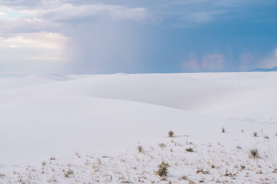 Storm heading over the sand dunes in White Sands National Monument, New Mexico