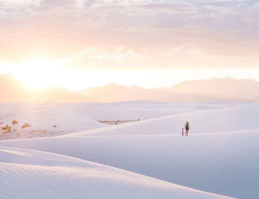 Sunset in White Sands National Monument in New Mexico