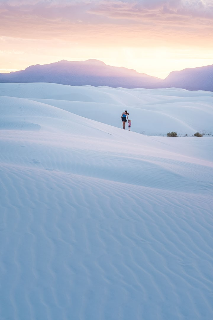 Hiking through White Sands National Monument in New Mexico