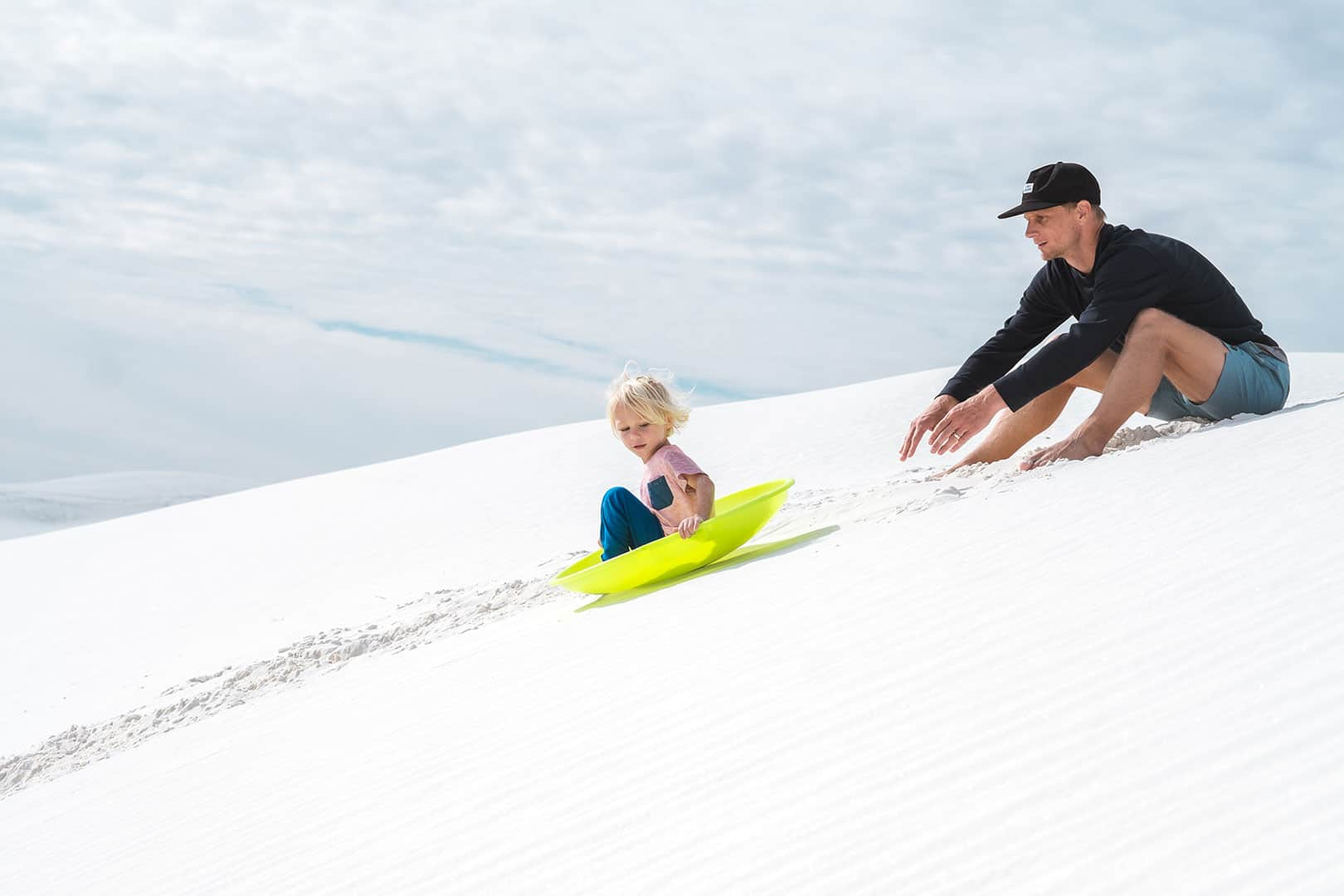 Sand Sledding in White Sands National Monument in New Mexico