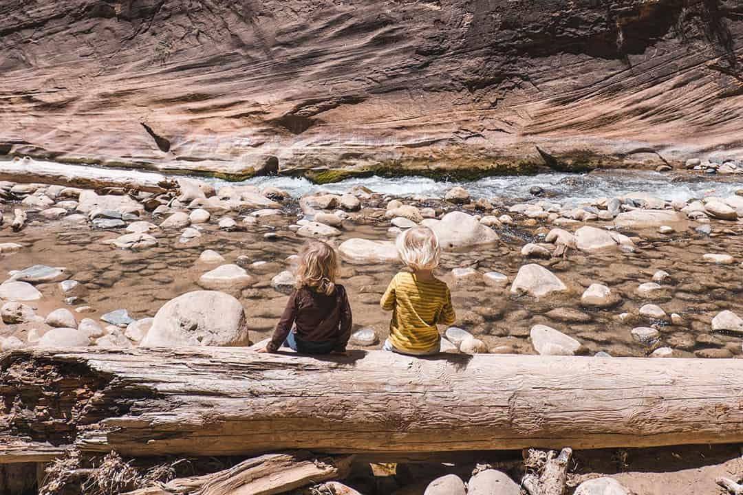 Hiking the Narrows in Zion with kids