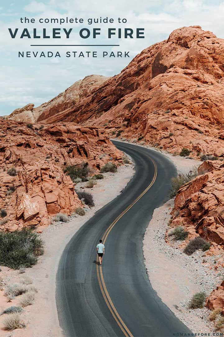 Explore one of the most stunning landscapes in Nevada at Valley of Fire State Park. Just an hour from Las Vegas, you can hike through unique red sandstone formations, explore a pastel pink canyon, and watch the Fire Wave glow at sunset. Check out this guide with all the must-see spots in Valley of Fire State Park. #valleyoffire #statepark #nevada #lasvegas #travel #daytrip #camping #hiking #familytravel