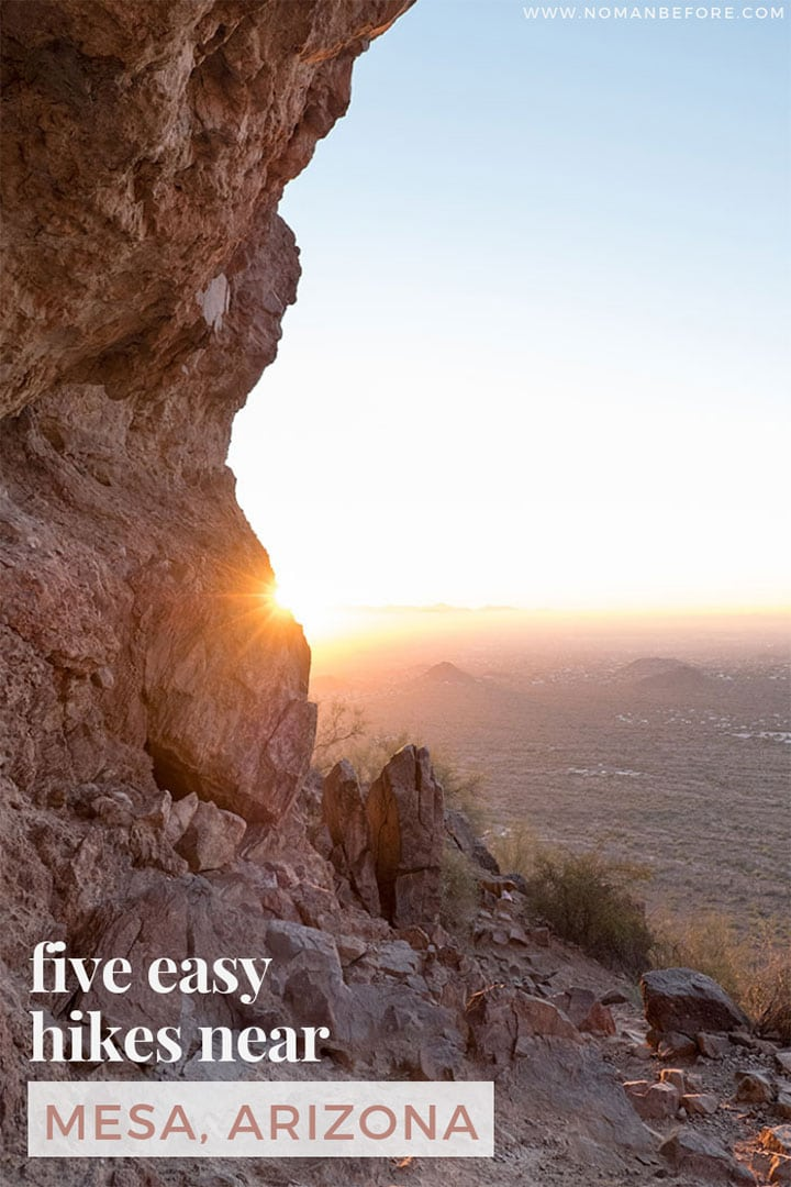 5 Easy Hikes You Can't Miss in Arizona | Looking for great hiking near Mesa, Arizona? Experience the beauty of the Sonoran Desert with these five easy trails. Hike among thousands of saguaro cactus in the Superstition Mountains and Usery Mountain Regional Park about 30 minutes east of Phoenix. | #arizona #phoenix #mesa #hikes #hiking #arizonahiking #travel