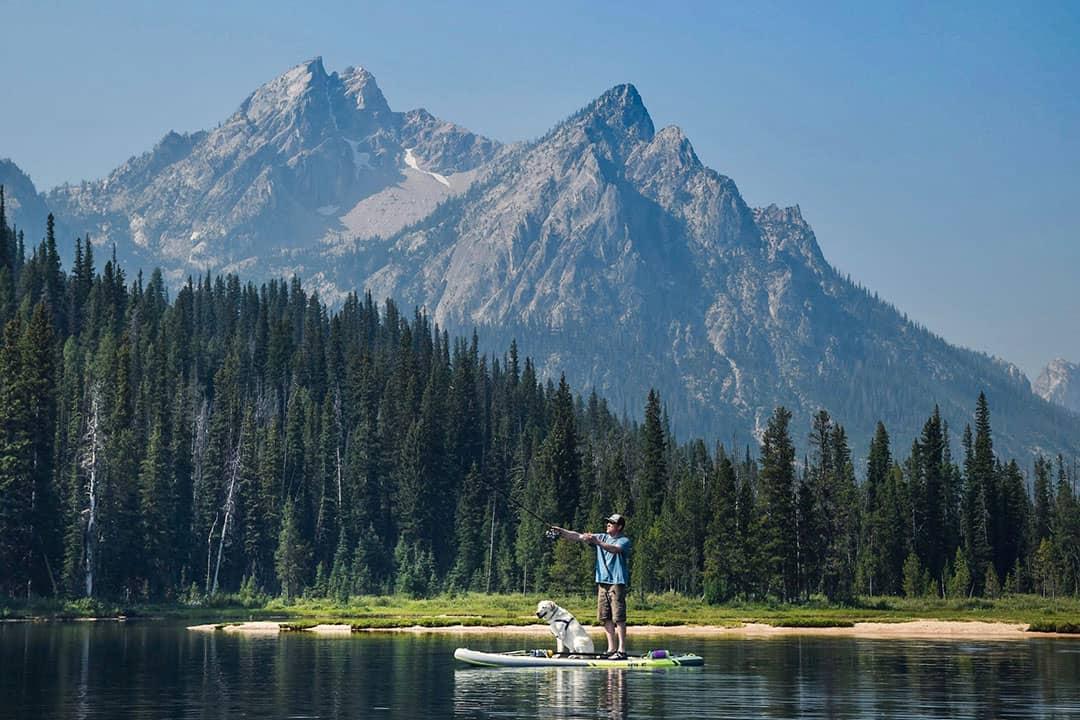 Fishing on Stanley Lake in Sawtooth Mountains, Idaho