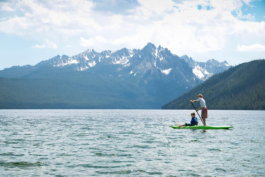 Paddleboarding on Redfish Lake in the Sawtooth Wilderness, Idaho