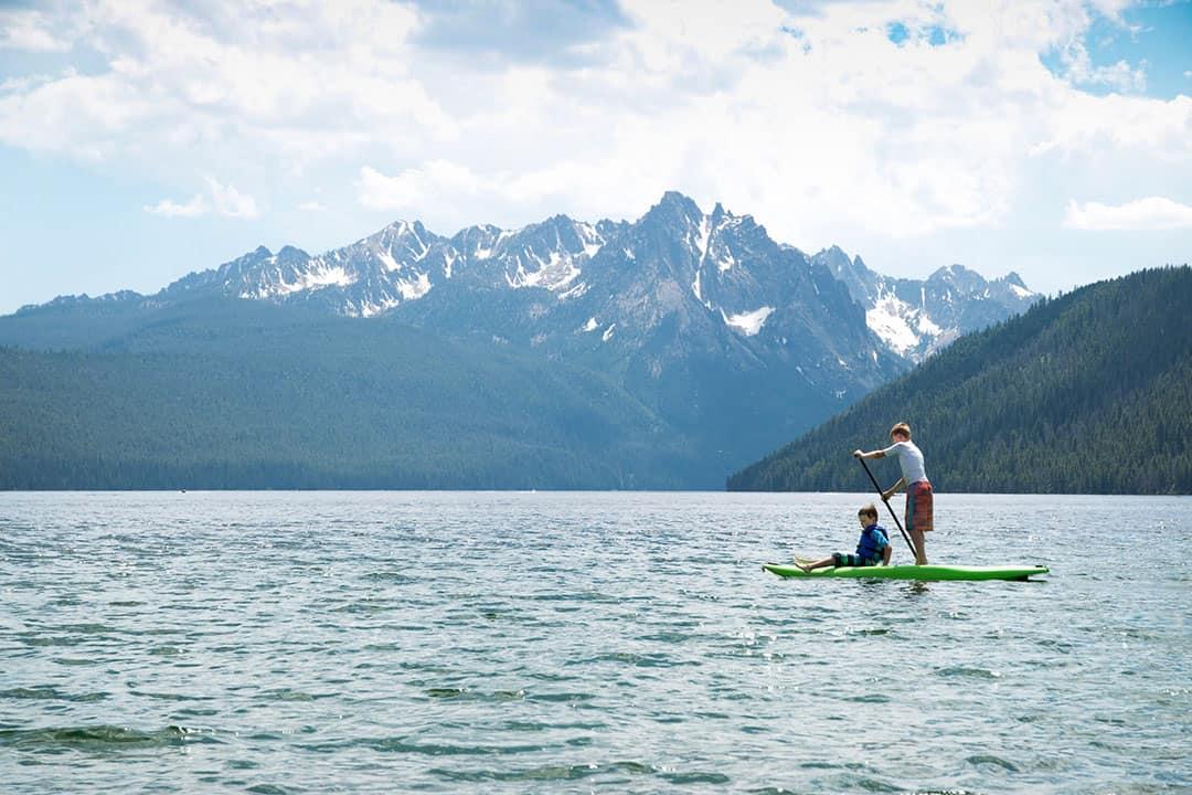 Paddleboarding on Redfish Lake in the Sawtooth Wilderness, Idaho