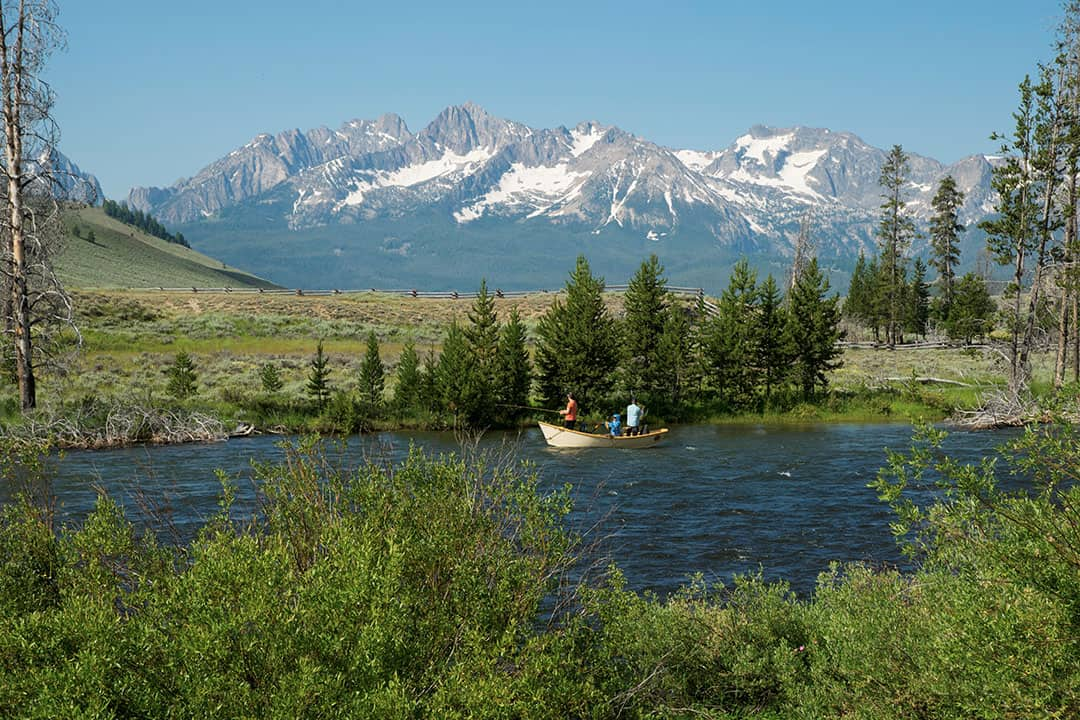 Fly fishing on the Salmon River in Sawtooth Mountains, Idaho