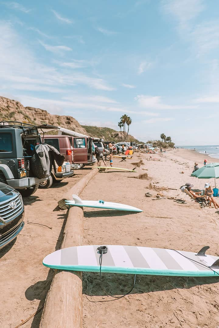 Surfboards along San Onofre State Beach