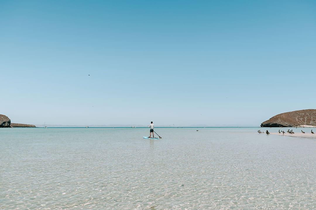 SUP boarding in the bay at Balandra Beach
