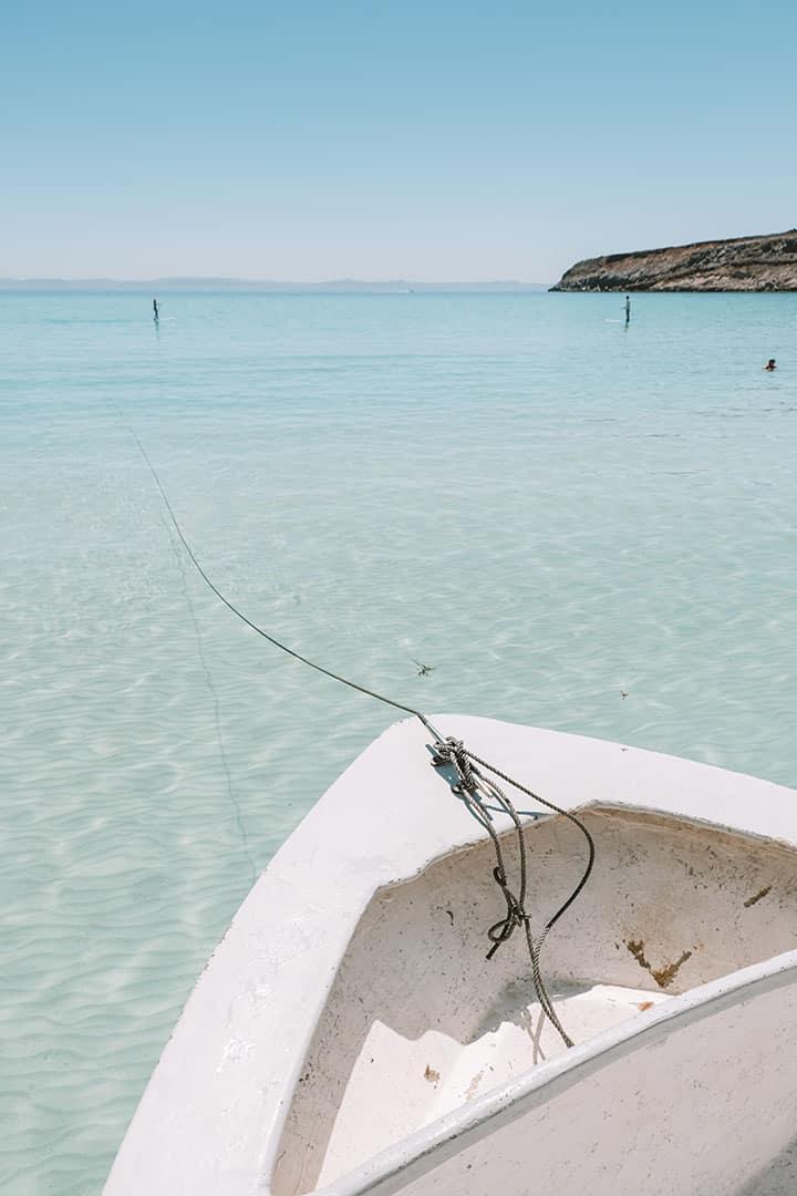 Panga boat docked at Playa Ensanada Grande at Isla Partida Mexico
