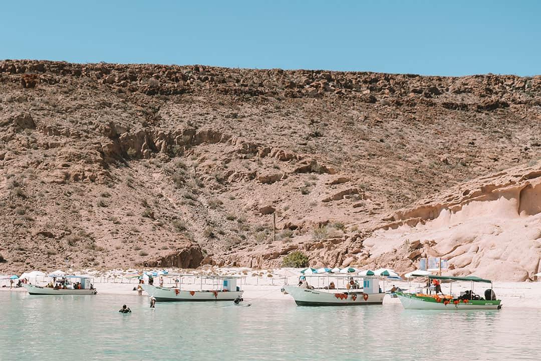 Panga Boats at Playa Ensanada Grande on Isla Espiritu Santo Tours