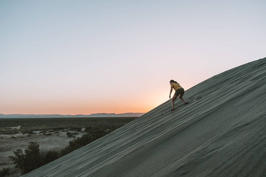 Sandboarding in La Paz, Mexico