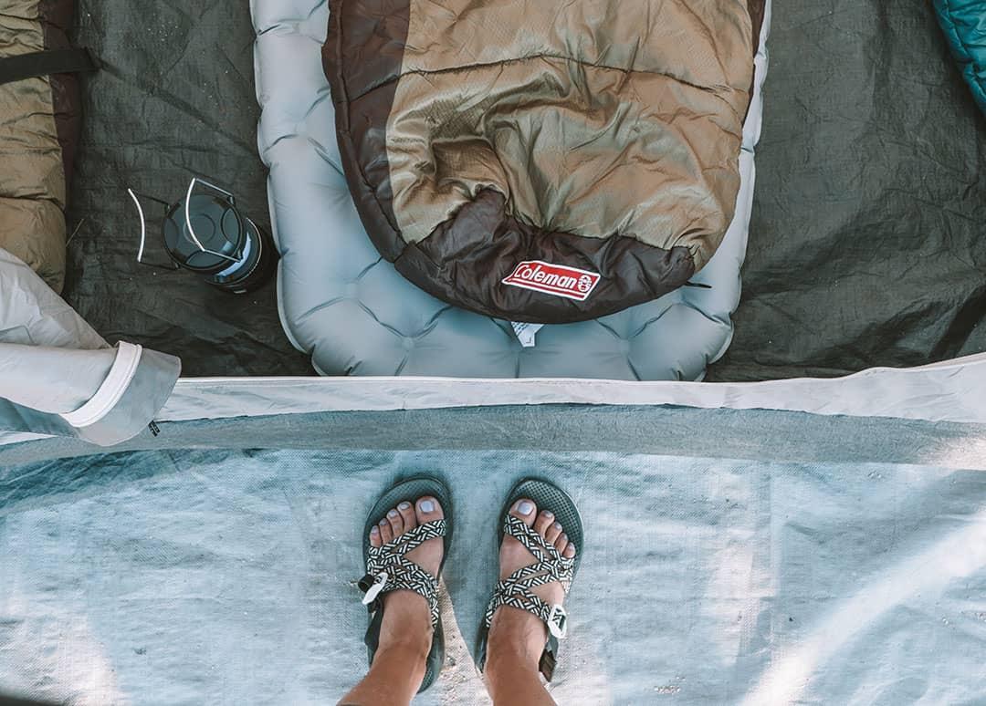 Sleeping Bag and Sleeping Mat in Tent