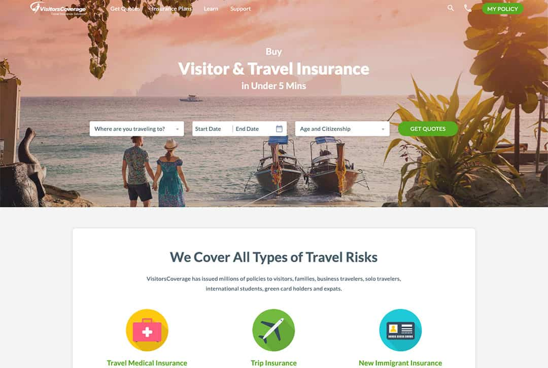 Home Page for Visitors Coverage Travel Insurance Website
