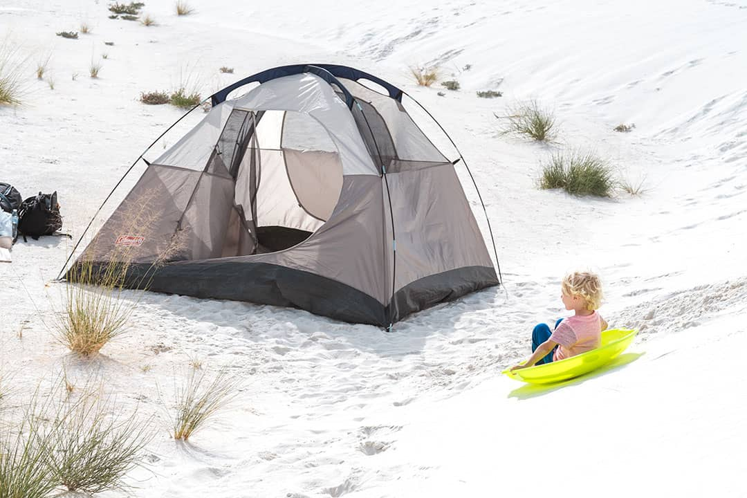 Hudson Sand Sledding by Tent at White Sands National Monument
