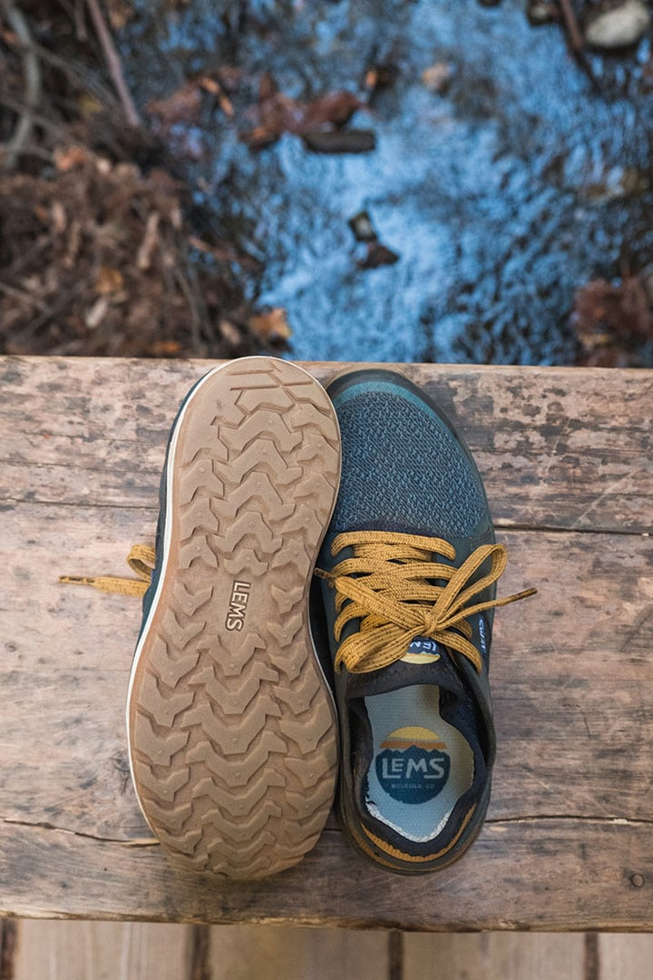 Lems Mesa Minimalist Hiking Shoe - top of shoe and bottom tread