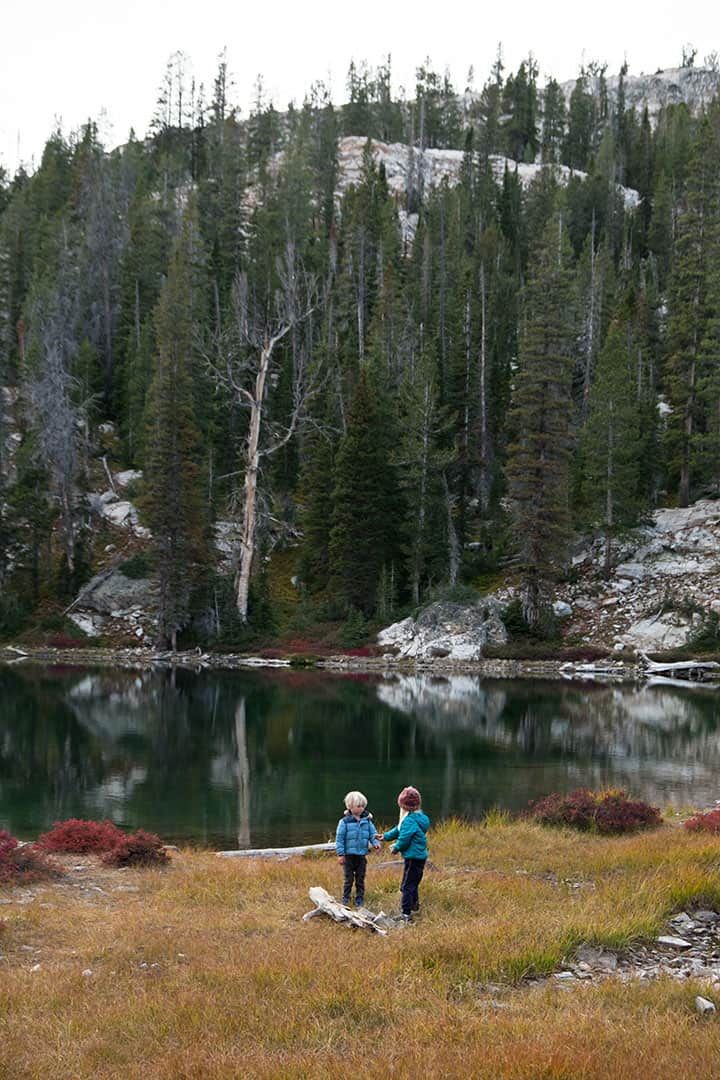 Kids playing by Alice Lake in the Sawtooth Mountains, Idaho