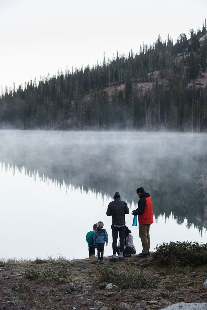 Filtering water at Lake Alice in Idaho's Sawtooth Wilderness