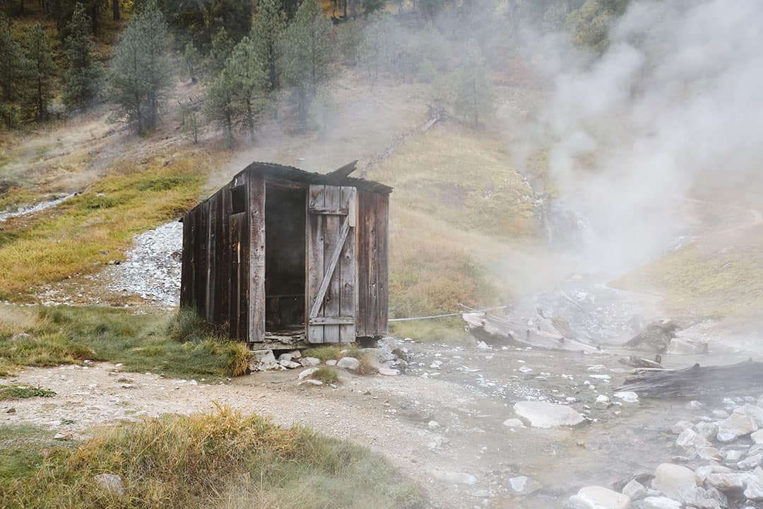 Wooden Hut with bathtub at Bonneville Hot Springs in Idaho